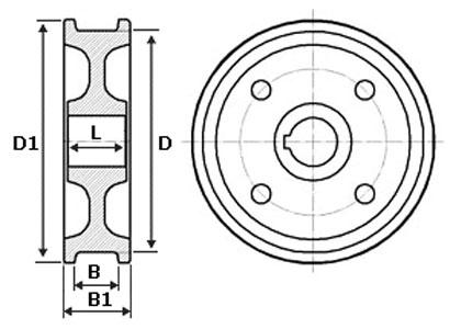 чертеж колеса кранового  двухребордного